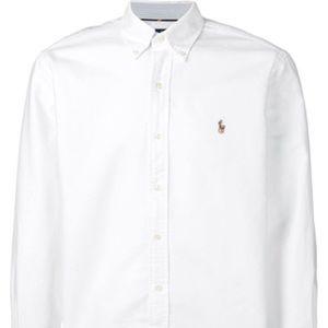 Men's white long sleeve polo button down